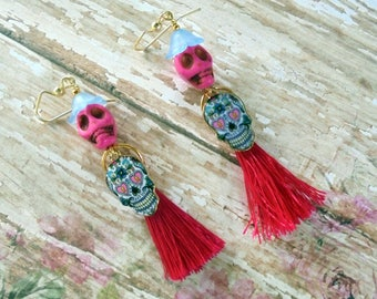 Pink Sugar Skull and Tassel Day of the Dead Earrings (3921)