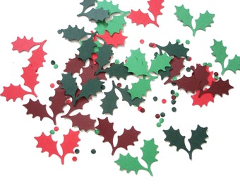 100 Holly Leaves and Berry Confetti, Holiday Party Decorations, Scrapbook Embellishments - No481