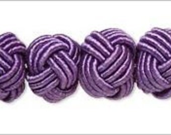 Unique & Unusual Knotted Round Rayon and Acrylic Beads Purple 8-9mm 6pcs