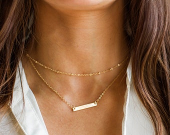 Personalized Bar Necklace | Initial Bar Necklace | Gold Name Bar | Layer Necklace Set | Monogram Necklace, Name Necklace, Personalize Choker