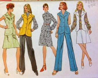 UNCUT Vintage 70's Sewing Pattern Simplicity 5528 Retro Separates Size 16 Bust 38 Uncut Complete