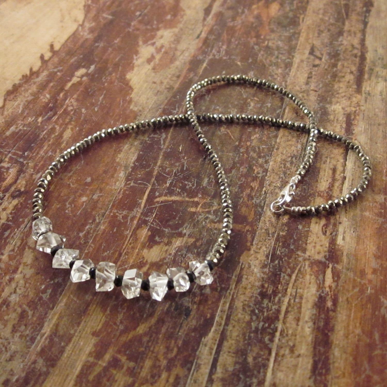 herkimer diamond necklace quartz crystal necklace gift pyrite. Black Bedroom Furniture Sets. Home Design Ideas