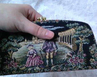 Vintage 60s Tapestry Wallet Clutch