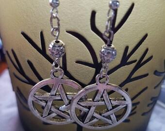 3 sizes of Pentacle earrings with Pentagram beads