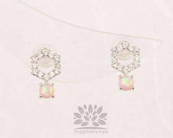 Plaqué de Rhodium E317-R-PK / / cube hexagone avec boucle d'oreille de poteau d'argent 3mm opale rose, 1paire