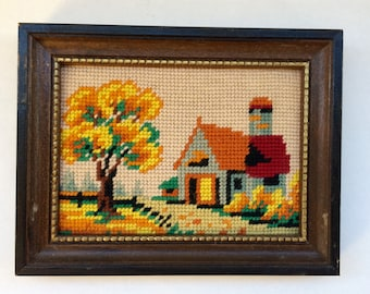 Fall needlepoint wall art vintage 1970s