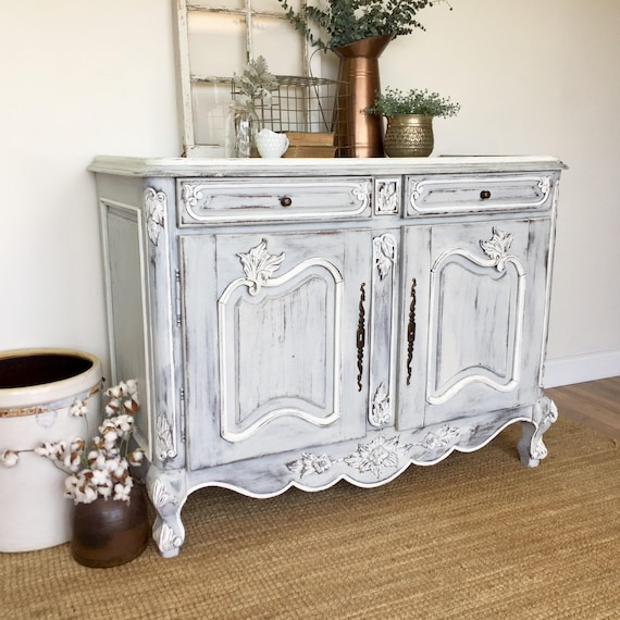 Antique Sideboard Buffet French Provincial Furniture White Buffet Cabinet Louis XV Buffet Shabby Furniture Country Buffet