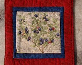Summer Berries Mug Rug Coaster or Mini Quilt