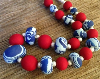 The Captain - Bright Red, Silver & Blue Statement Necklace