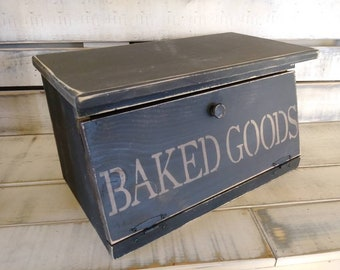 Country Rustic Wooden Breadbox Baked Goods Old Print