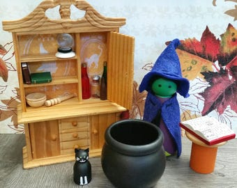 Witch Peg Doll and Hutch Set