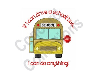 School Bus Driver - Machine Embroidery Design, School Bus, Bus Driver