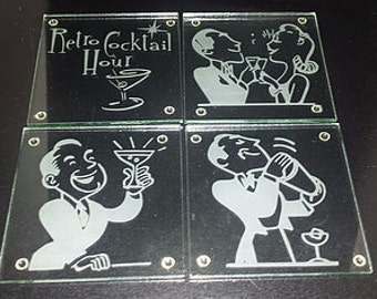 """Etched """"Retro"""" Glass Coasters"""