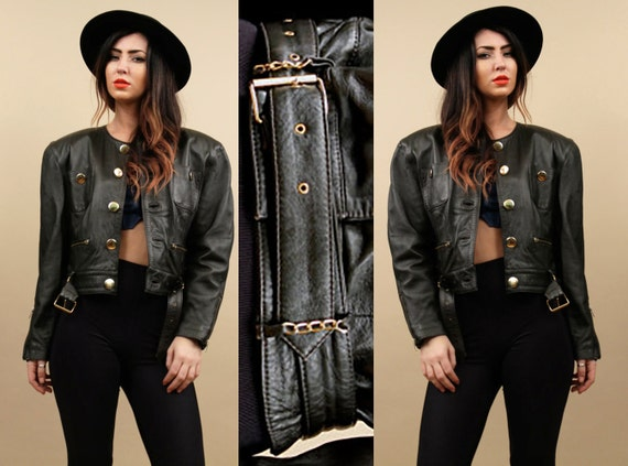 80s Med Jacket Coat Oversized Modern Minimalist Lambskin Vtg LEATHER Soft Dream Punk Sm Moto Crop Chains Black BiKER Gold Buttons rTHYrq