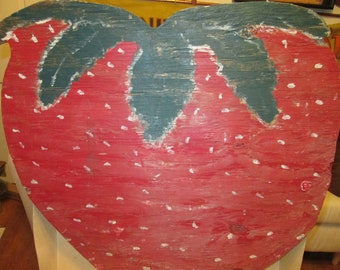 Giant double-sided folk art strawberry painted on wood