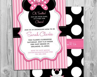 Minnie Mouse Baby Shower Invitations | Printable Minnie Mouse Baby Shower Invitation | Pink Black | Girl Baby Shower Invites