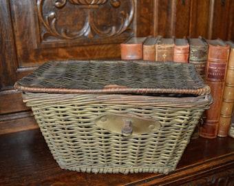 Antique English Wicker Fishing Creel Basket Rustic Charm