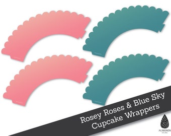 Rosey roses and blue Sky colored cupcake wrappers, printable cupcake wrappers, DIY cupcake wrappers.