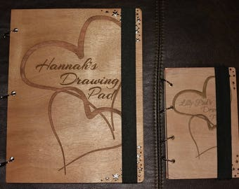 Wooden Heart Design Drawing Pad