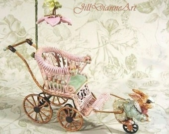 Mechanical Antique Style Rabbit Pram - original art - hand-sculpted - Jill Dianne Dollhouse Nursery Miniatures