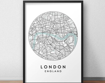London City Print, Street Map Art, London Map Poster, London Map Print, City Map Wall Art, London Map, Travel Poster, England