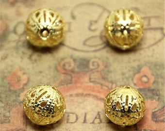 10pcs old Plated Ball Bead charms gold tone olden Ball bead 12mm ASD2415