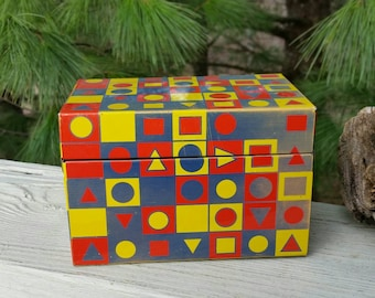 Metal Recipe Box with Geometric Shapes in Red, Yellow, & Blue Retro Kitchen Decor