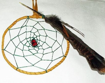 Dream Catcher Wall Hanging/Dream Catcher/Hand Made/Various Feathers/Vintage Glass Bead