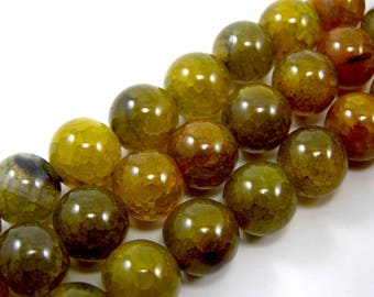 12 mm set green dragon vein agate bead 4