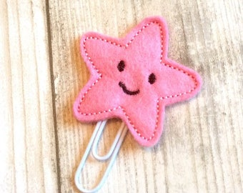 pink star planner clip, felt paper clip, kawaii, planner clip, planner accessory, planner accessories, planner supplies, cute planner