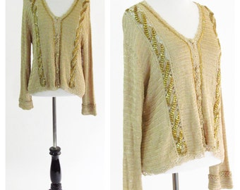 Vintage 1970s Gold Cardigan - Bohemian Beaded Crochet Long Sleeve Sweater - 70s Gold Top With Beading - Button Up Top - Size Medium / Large