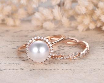 Exceptional Akoya Pearl Engagement Ring Set Solid 14K Rose Gold HALO Diamond Band 2pcs Bridal  Ring Set Bridal Akoya Pearl Ring Twist Unique Wedding Ring