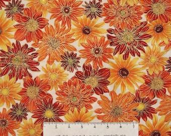 Fall Thanksgiving Fabric - Autumn Splendor Flowers Cream - Benartex Kanvas YARD
