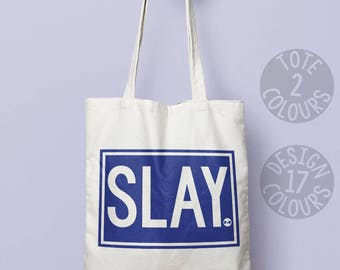 Slay personalized tote bag protest, christmas present, gift for her, gift for women, activist resist, she persisted, feminist af, girl power