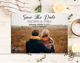 Save The Date Wedding, Printable Save The Date, Announcement Template, Wedding, Photo Save The Date, PDF