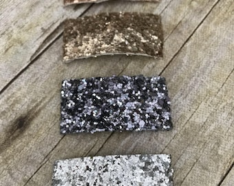 Nuetral Glitter Snap Clips