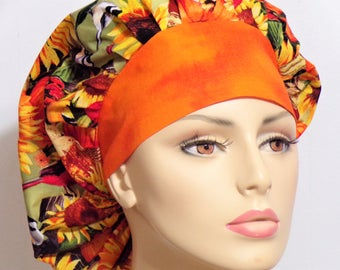 Sunflower Fields Scrub Hats-Bouffant Scrub Hat-Scrub Caps-Scrub Hat-Medical Scrub Hat-Autumn Fall-Womens Scrub Hat-SilverCaps