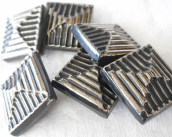 Set of 6 VINTAGE Silver Luster Square Bow Design Black Glass BUTTONS