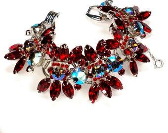 Juliana D&E Delizza Elster Ruby Red AB Rhinestone Bracelet