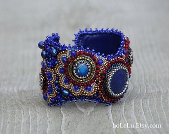 Bead Embroidery Cuff Bracelet with Lapis Lazuli Cabochon.... Royal Blue, Red and Gold