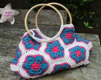 Crochet pattern African flower bag