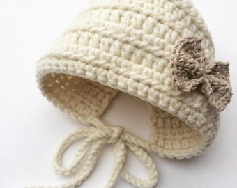 Baby girl crochet bonnet, baby crochet hat, baby bonnet with bow, baby shower gift, new baby gift, baby girl gift, present for baby