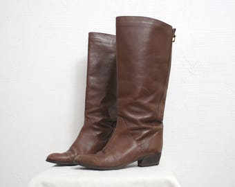70s 80s tall riding boots. knee high boots. dark brown leather boots. low heel boots - eur 36.5 uk 3.5 us 7