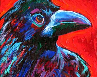 """Crow Painting, Crow Art Print, 'Russell Crow', 7 x 5"""", from Original Painting by Tod C Steele"""