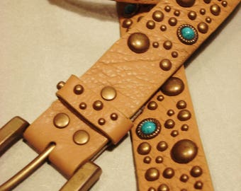 Vintage 1990s Beige Brass Studs and Turquoise Belt
