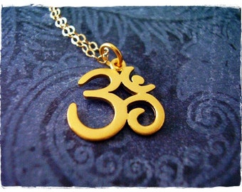 Matte Gold Om Necklace - 24kt Matte Gold Plate Om Charm on a Delicate 14kt Gold Filled Cable Chain or Charm Only