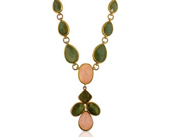 Labradorite and Pink quartz Necklace, cross necklace, labradorite necklace, statement necklace, pink quartz necklace, gemstone necklace