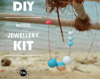 DIY Wood Jewellery Kit -Simply White, Turquoise, Australian Rose Colourway