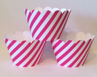 Hot Pink and White Stripe Cupcake Wrappers, Party decorations, cupcake holders, party supplies, cupcake wraps, cupcake sleeves, paper goods