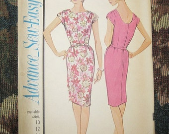 Advance Sew-Easy Dress Pattern, #3461, Size 14 Dress With Pencil Skirt And Cap Sleeves, 1960's Sewing Pattern, Vintage Sewing